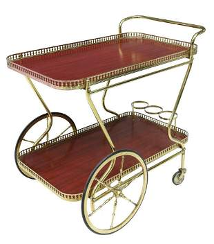 ITALIAN GILT METAL TWO-TIER SERVICE BAR CART