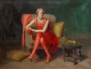 J. LAURIE WALLACE (D.1953) DECO SOCIETY PORTRAIT