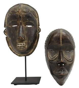 (2) AFRICAN CARVED WOOD MASKS