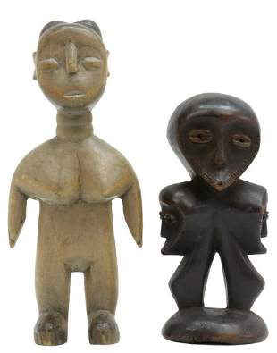 (2) AFRICAN FIGURAL WOOD CARVINGS, LEGA , CONGO