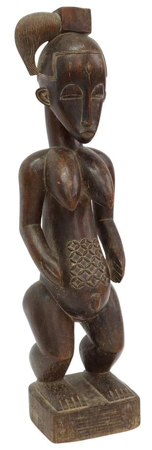 AFRICAN BAULE CARVED FERTILITY STATUE, IVORY COAST