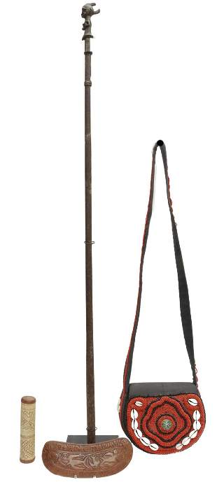 (LOT) AFRICAN IRON STAFF & OTHER ITEMS