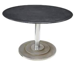 GRANITE TOP CAST IRON PEDESTAL TABLE