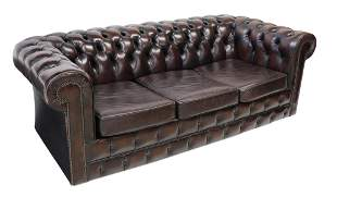 BUTTONED BROWN LEATHER CHESTERFIELD SLEEPER SOFA