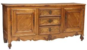 FRENCH PROVINCIAL LOUIS XV STYLE WALNUT SIDEBOARD
