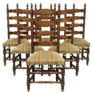 (6) FRENCH PROVINCIAL LADDER-BACK DINING CHAIRS