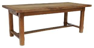 "FRENCH PROVINCIAL OAK FARMHOUSE TABLE, 78.25""L"