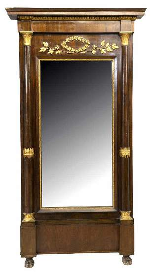 """MONUMENTAL FRENCH EMPIRE STYLE PIER MIRROR, 103""""H"""