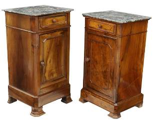 (2) FRENCH LOUIS PHILIPPE MARBLE-TOP NIGHTSTANDS