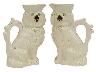 (2) ENGLISH VICTORIAN STAFFORDSHIRE DOG EWERS