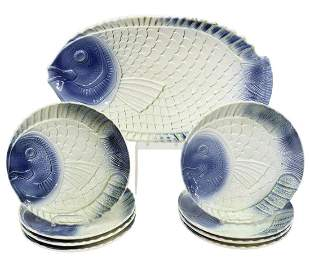 (9) FRENCH FAIENCE FISH PLATES & PLATTER