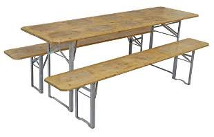 (3) ENGLISH RUSTIC WAXED PINE BAR TABLE & BENCHES