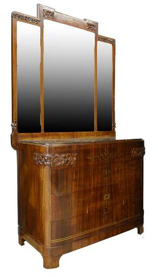 ITALIAN ART NOUVEAU MIRRORED ROSEWOOD COMMODE