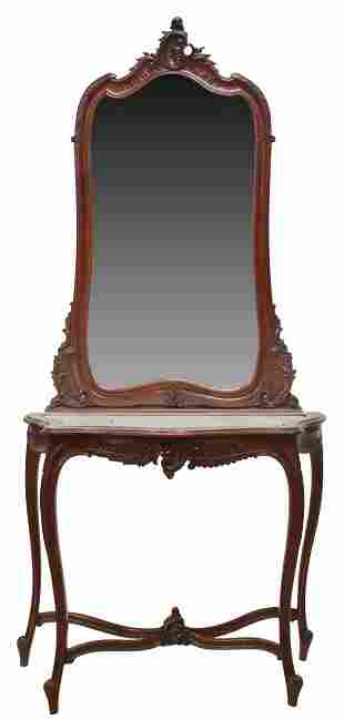 ITALIAN LOUIS XV STYLE CONSOLE TABLE & MIRROR