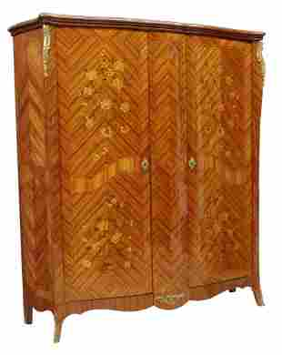 FRENCH LOUIS XV STYLE MARQUETRY ARMOIRE