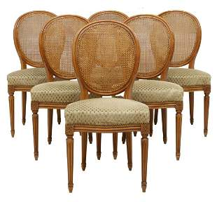 (6) FRENCH LOUIS XVI STYLE CANE-BACK DINING CHAIRS
