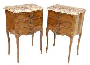 2) FRENCH LOUIS XV STYLE MARBLE-TOP BEDSIDE TABLES