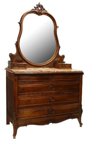 FRENCH LOUIS XV STYLE MARBLE-TOP DRESSING COMMODE