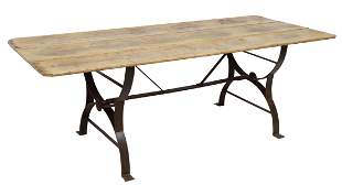ENGLISH RUSTIC WAXED PINE IRON BASE DINING TABLE