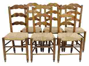 (6) FRENCH PROVINCIAL FRUITWOOD LADDER-BACK CHAIRS