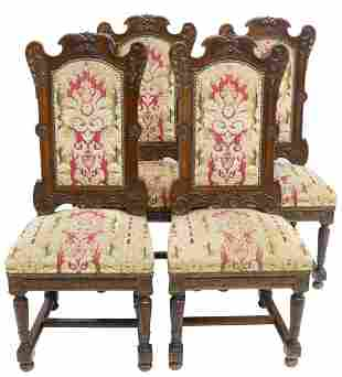 (4) FRENCH LOUIS XIV STYLE CARVED WALNUT CHAIRS