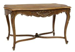FRENCH LOUIS XV STYLE CARVED WALNUT TABLE