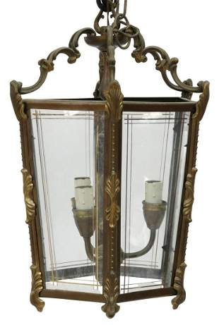 ITALIAN BRASS & GLASS HANGING LANTERN, 20TH C