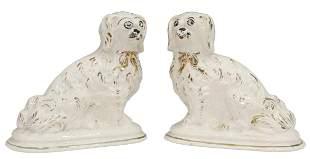 (2) ENGLISH STAFFORDSHIRE MANTEL DOGS SPANIELS