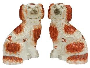 (2) ENGLISH VICTORIAN STAFFORDSHIRE MANTEL DOGS