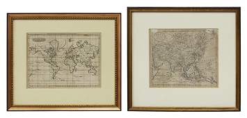 (2) ENGRAVED MAPS ASIA & WORLD MERCATOR PROJECTION