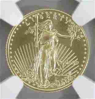 US HALF EAGLE 2009 GOLD $5 COIN EARLY RELEASE MS70