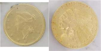 (2) AMERICAN GOLD COINS 1853 $1, 1910 $2 1/2