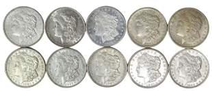 (10) U.S. MORGAN SILVER DOLLARS
