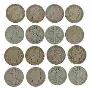 (16) U.S. BARBER & WALKING LIBERTY HALF DOLLARS