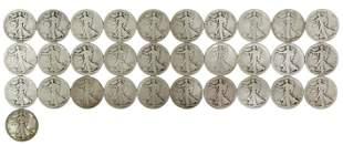 (31) US WALKING LIBERTY HALF DOLLARS, 1918 & 1934