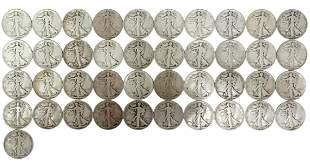(41) U.S. WALKING LIBERTY HALF DOLLARS 1936 & 1937