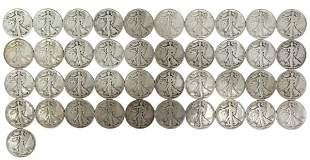 (41) U.S. WALKING LIBERTY HALF DOLLARS, 1940, 1941