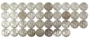 (38) U.S. WALKING LIBERTY HALF DOLLARS, 1941, 1942