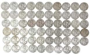 (59) U.S. WALKING LIBERTY HALF DOLLARS, 1942, 1943