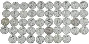 (47) U.S. WALKING LIBERTY HALF DOLLARS, 1945