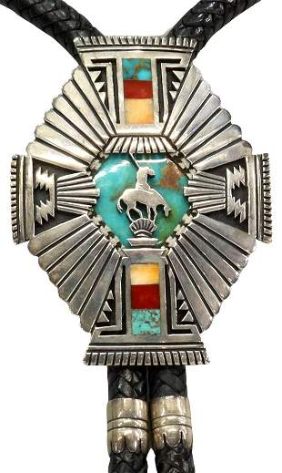 LEONARD HASKIE NAVAJO OVERLAY END OF TRAIL BOLO