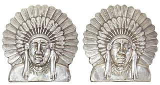 (2) EDWARD H. BOHLIN STERLING SILVER, INDIAN CHIEF