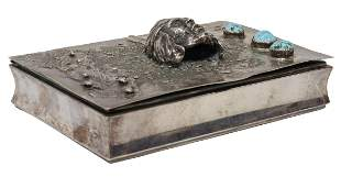 835 SILVER BOX W/ NATIVE AMERICAN BUST, TURQUOISE