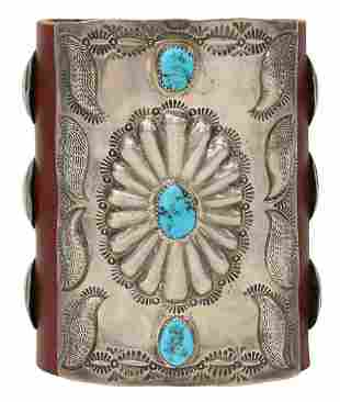 NATIVE AMERICAN SILVER & TURQUOISE KETOH BOW GUARD