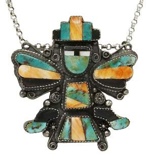 ZUNI MULTI-STONE INLAY KNIFEWING PENDANT BROOCH