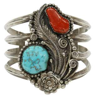 SOUTHWEST TURQUOISE RED CORAL CUFF BRACELET