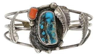 NATIVE AMERICAN TURQUOISE RED CORAL CUFF BRACELET