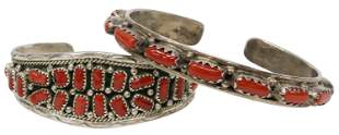 (2) SOUTHWEST STYLE STERLING & RED CORAL CUFFS