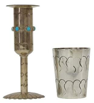 (2) JEFFREY CASTILLO CANDLESTICK & SILVER CUP