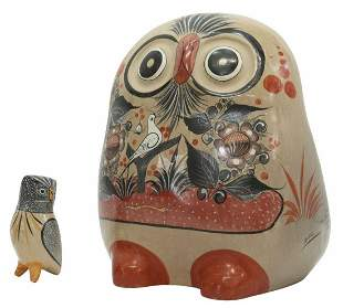 (2) MEXICAN TONALA FOLK ART POTTERY OWL FIGURES